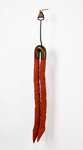 "Two, bronze, old wool, horsehair, iron hook, leather, thread, 49"" x 8"" x 5"", 2014"
