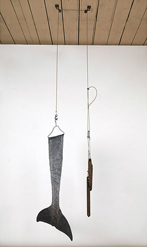 "Untitled (Tail), lead, foam, cable, iron weights & acrylic, 10' x 31"" x 10"", 2014"